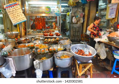 Bangkok, Thailand - April 7, 2019: Takeout food stall in Old Market near Yaowarat Road in Chinatown.