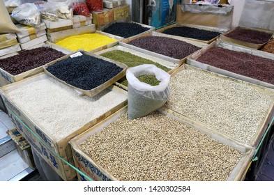 Bangkok, Thailand - April 7, 2019: Dry legumes stall in Old Market near Yaowarat Road in Chinatown.