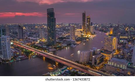 BANGKOK THAILAND - April 7 : aerial view of Taksin Bridge and Sathorn road in heart of Bangkok capital on April 7 , 2019 in Bangkok. Thailand