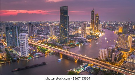 BANGKOK THAILAND - April 7 : aerial view of Taksin Bridge and Sathorn road in heart of Bangkok capital on April 7 , 2019 in Bangkok. Thailand
