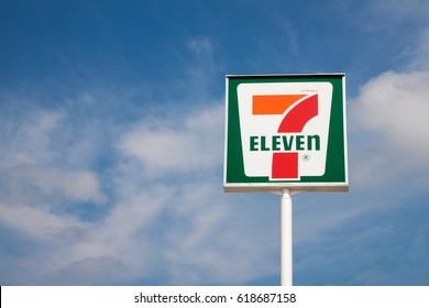 Bangkok, Thailand - April 8, 2017 :  7-Eleven is the world's largest convenience store franchise and there are a number of branches in Thailand.