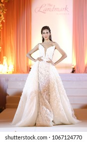 "Bangkok, Thailand - April 8, 2018 ; Model walks in Fashion Show of Wedding Dress in ""Myriad new collection at Landmark Hotel"