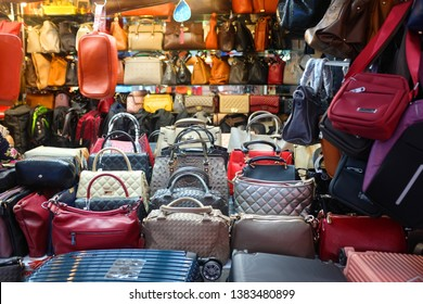 Bangkok, Thailand - April 8, 2019 : View of fake luxury bags sold in a shop at MBK Plaza