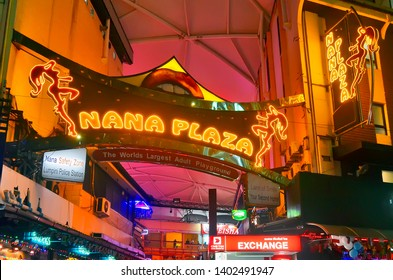 Bangkok, Thailand - April 8, 2019: Close-up view of the entrance of Nana Plaza, a red light district area of Bangkok in a courtyard of Sukhumvit Soi 4 for adult entertainment.