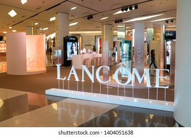 Bangkok, Thailand - April 8, 2019 : View of a Lancome beauty product outlet on display at Siam Paragon