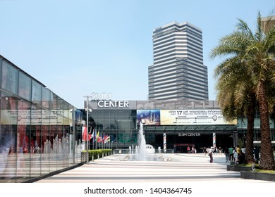 Bangkok, Thailand - April 8, 2019 : External open area of Siam Center on a cloudless sky at Siam Station