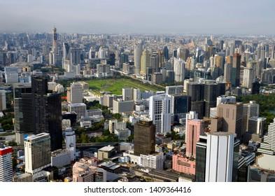 Bangkok, Thailand - April 8, 2019: High angle view of the Bangkok skyline from the King Power MahaNakhon.