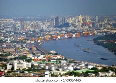 Bangkok, Thailand - April 8, 2019: High angle view of Bangkok Port, popularly known as Khlong Toei Port, from the King Power MahaNakhon.