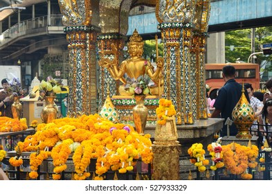 BANGKOK, THAILAND - APRIL 8: Erawan Shrine on April 8, 2016 in Bangkok, Thailand. Bangkok is the capital of Thailand and has a population of 8.28 million.