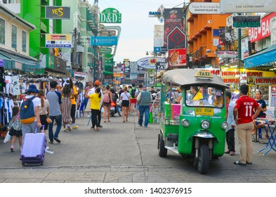 Bangkok, Thailand - April 9, 2019: Day view of Khao San Road, the famous backpackers street with cheap accomodations and a lot of bars.