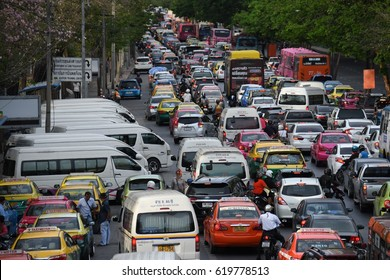 BANGKOK, THAILAND - APRIL 9,2017: View of Bangkok traffic jam on the day time