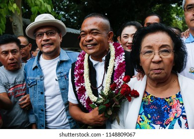 Bangkok, Thailand - Aug 04, 2018: Red-shirt leader Jatuporn Prompan freed on Saturday at the Bangkok Remand Prison after completing one-year sentence for defaming former prime minister Abhisit Vejjaji
