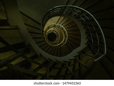 Bangkok, thailand - Aug 04, 2019 : View down of the spiral staircase inside the historic building.