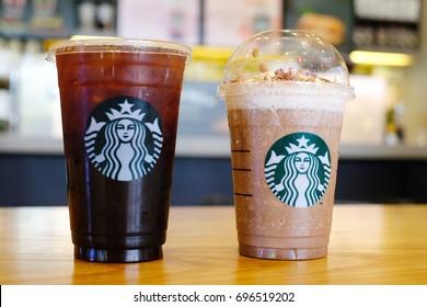 BANGKOK , THAILAND - AUG 12 2017: New menu Iced moccha and original classicice americano at Starbucks