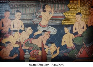 BANGKOK ,THAILAND - AUG 16 : Ancient Thai mural painting with tempera colors and gilding painting at wat Pho on November 15, 2017 in Bangkok, Thailand.