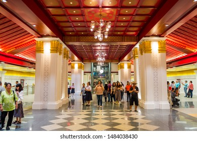 BANGKOK, THAILAND - AUG 17, 2019 : New MRT Stations in Bangkok, MRT Sanam Chai, located in front of Museum Siam, is designed to resemble a Rattanakosin-style stateroom. Interior of MRT Sanam Chai.