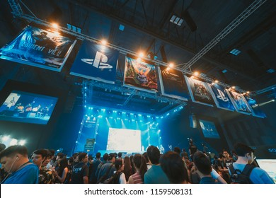 Bangkok, Thailand - Aug 18, 2018: Crowd of gamer attending stage show event of PlayStation Experience SEA (South East Asia) 2018, video game demo exhibition held for the first time in Bangkok Thailand