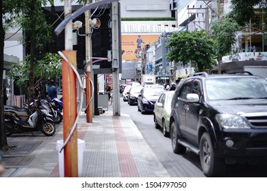 Bangkok, Thailand - Aug 18, 2019 : Unidentified tourists and building in Siam square area. Siam square is popular among teen and tourists.