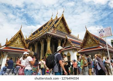 Bangkok, Thailand - Aug 2, 2018: People of World tourists visiting Wat Phra Kaew or Wat Phra Si Rattana Satsadaram, Thai Emerald Buddha temple. landmark and history of thailand ,Bangkok