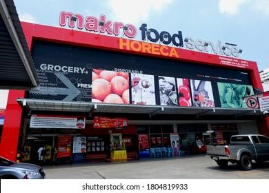Bangkok, Thailand - AUG 20,2020 : Makro Food Service at Bangkok. Location on Srinakarin road about 5 km from Bankkok city on sky background. Bankkok, Thailand.
