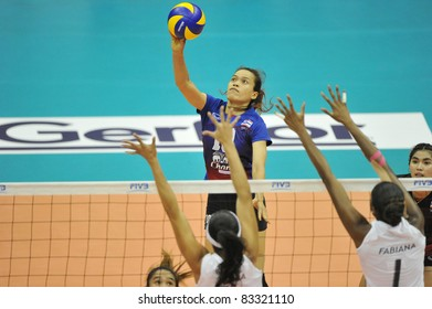 BANGKOK, THAILAND - AUG 21: A.Wilavan of THA during the match between BRA and THA of the 2011 FIVB World Grand Prix at Thai-Japanese Stadium on Aug. 21, 2011 in Bangkok, Thailand