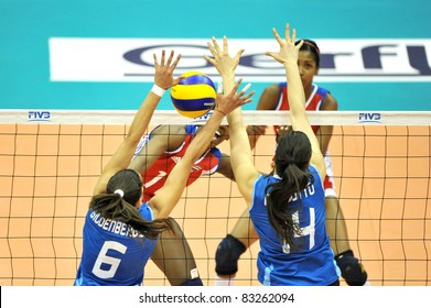 BANGKOK, THAILAND - AUG 21: Volleyball players of CUB during the match between ARG and CUB of the 2011 FIVB World Grand Prix at Thai-Japanese Stadium on Aug 21, 2011 in Bangkok, Thailand