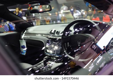 Bangkok, Thailand, Aug 24, 2019 - Inside view of Maserati car