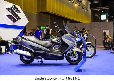 Bangkok, Thailand, Aug 24, 2019 - Suzuki Burgman big scooter in motor exhibition