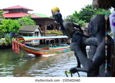 "Bangkok, Thailand - Aug 24, 2019 - Tourist at Traditional Thai Puppet spectacle at ""Artist House"" Klong Bang Luang"