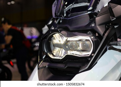 Bangkok, Thailand, Aug 24, 2019 - Close up BMW Adventure touring big motorbike projector headlight