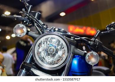 Bangkok, Thailand. Aug 24, 2019 - Close up Yamaha bolt R-Spec front headlight