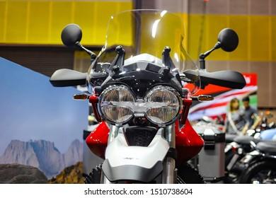 Bangkok, Thailand. Aug 24, 2019 - Close up front side of BMW adventure touring big motorbike headlights