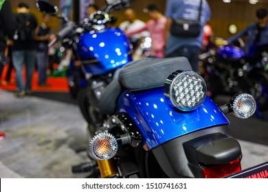 Bangkok, Thailand. Aug 24, 2019 - Rear view of  Yamaha bolt R-Spec back and side lights