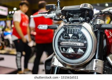 Bangkok, Thailand, Aug 24, 2019 - Headlight of Honda CB650R displaying in Bangkok Big Motor Sale 2019, Bitec Bangna