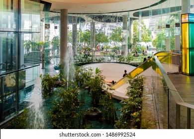 BANGKOK, THAILAND - AUG 24 : The Helix Quarter at Emquartier Shopping Mall on August 24, 2019 in Bangkok, Thailand. The Emquartier is a luxury shopping center connected to Emporium.