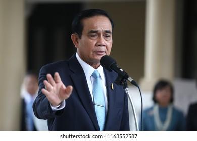 Bangkok, Thailand - Aug 24,2018: Thai prime minister, Prayut Chan-o-cha talks to media at Thai Government House.
