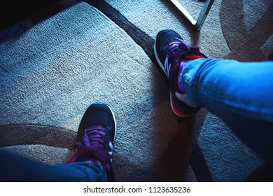 Bangkok, Thailand - Aug 28 2014: Close Up Shot of a Woman's Newbalance Running Shoes (Purple) in Room