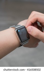 BANGKOK, THAILAND - Aug 29, 2015: Man hands check notification Social network from apple watch
