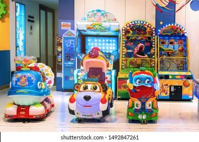 BANGKOK, THAILAND - AUG 3 : Kid zone,  Game corner at Central World on August 3, 2019 in Bangkok, Thailand.