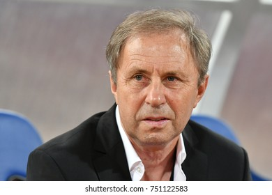 BANGKOK THAILAND AUG 31 :Milovan Rajevac of Thailand in action during the 2018 FIFA World Cup Asian Qualifiers Match Thailand and Iraq at Rajamangala Stadium on August 31,2017 in Thailand.
