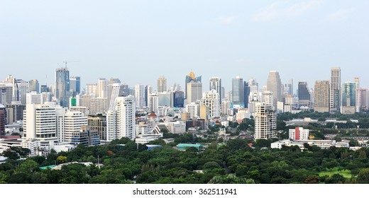BANGKOK, THAILAND - AUG 4, 2013: A view of the Thai capital's modern skyline. The south east Asian city is developing rapidly with a population of 8.3m and an economy worth 29% of the country's GDP.