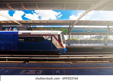 BANGKOK, THAILAND - AUG 5 : BTS Skytrain or The Bangkok Mass Transit System on Aug 5, 2017 in Bangkok, Thailand. BTS Route has been designed to help people discover Bangkok easily.