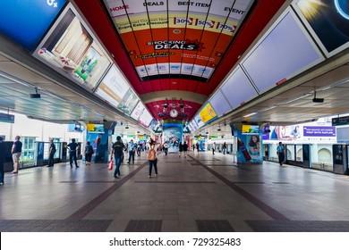 BANGKOK, THAILAND - AUG 5 : Siam BTS Station on September 25, 2017 in Bangkok, Thailand. Bangkok Skytrain is the most convenient transportation in Bangkok.