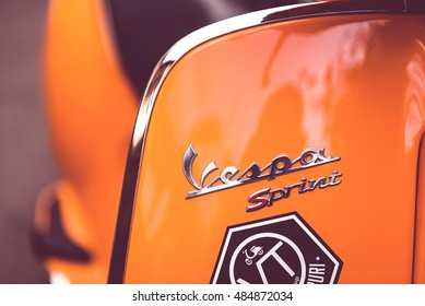 BANGKOK, THAILAND - Aug 6: Close up detail of elegantly designed Vespa Italian scooter logo parked in a street at Bangkok, Thailand on Aug 06, 2016