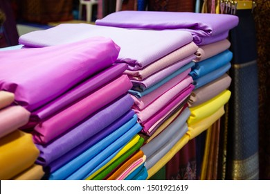 Bangkok Thailand :- Aug 8, 2019 : Thai silk fabric - Handmade woven fabrics of Thai silk textiles with traditional decoration ornaments beautiful cultural