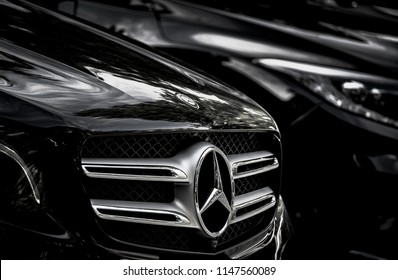 BANGKOK, THAILAND - AUGUST 01, 2018 : Mercedes Benz Sign Close Up Logo, Black And White Tone, Mercedes-Benz is a Global Automobile Marque And a Division of the German Company Daimler AG.