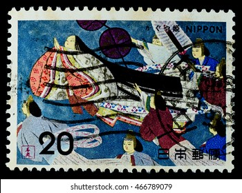 """BANGKOK, THAILAND - AUGUST 04, 2016: A postage stamp printed in Japan shows moon princess go to the moonin the tale of the Bamboo Cutter, series """"Folk Tale"""" 4th issue Kaguya hime, circa 1974."""