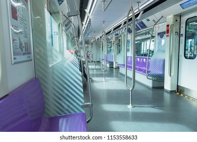 Bangkok, Thailand - August, 04, 2018 : Inside a car of the Purple line platform MRT, The Purple Line serves travellers between the northwestern suburbs of Bangkok, Thailand.