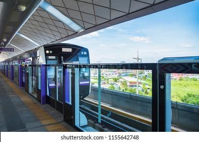 Bangkok, Thailand - August, 04, 2018 : MRT Purple line platform, The Purple Line serves travellers between the northwestern suburbs of Bangkok in Bangkok, Thailand