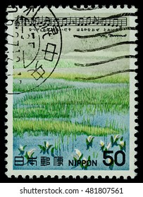 """BANGKOK, THAILAND - AUGUST 06, 2016: A postage stamp printed in Japan shows white flower in summer, series """"Japan Song"""", circa 1979."""